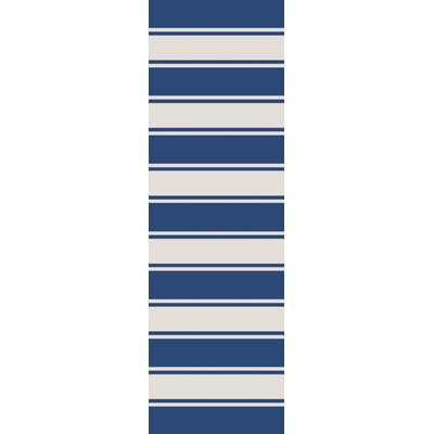 Rutledge Cobalt/Ivory Indoor/Outdoor Area Rug Rug Size: Runner 26 x 8