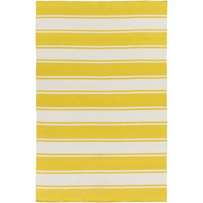 Conwell Hand Woven White/Yellow Indoor/Outdoor Area Rug Rug Size: 5' x 7'6