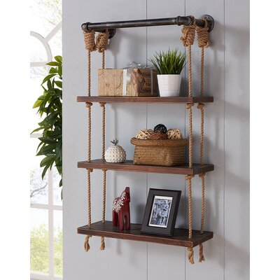 Breakwater Bay Modern Walnut Wood Floating Wall Shelf