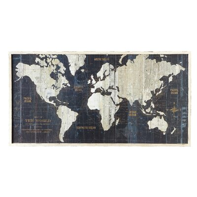 Breakwater Bay Nautical Route World Map Framed Graphic Art