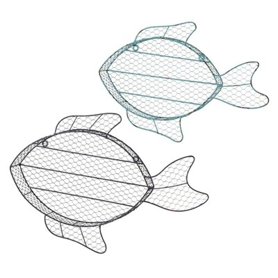 2 Piece Fish Wall Cubby Set