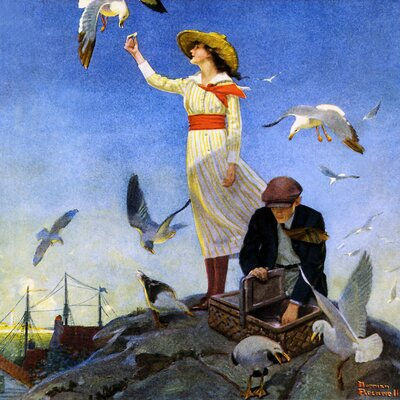 'Picnic on a Rocky Coast' by Norman Rockwell Painting Print on Wrapped Canvas