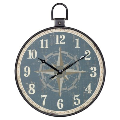 Round Aged Saphire 32 Elijah Aged Pocket Watch Style Wall Clock