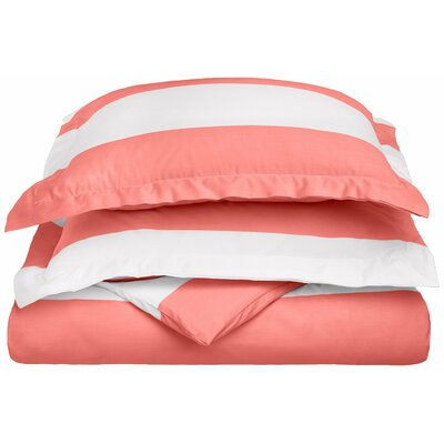 Ariel Sateen Reversible Duvet Cover Set Size: Full/Queen, Color: Pink