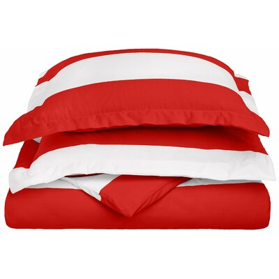 Ariel Sateen Reversible Duvet Cover Set Size: Full/Queen, Color: Red