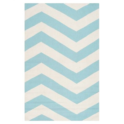 Highlands Aqua/White Area Rug Rug Size: 36 x 56