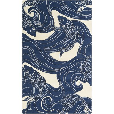 Sweetwood Navy/Beige Indoor/Outdoor Area Rug Rug Size: 5 x 8