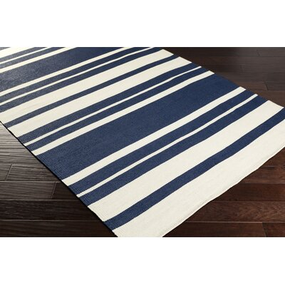 Breakwater Bay Walden Hand-Woven Navy/Cream Outdoor Area Rug