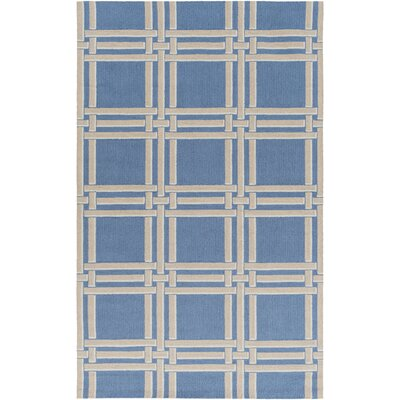 Abington Hand-Hooked Bright Blue/Khaki Area Rug Rug size: Rectangle 5 x 76