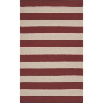 Breakwater Bay Orchid Hand-Hooked Dark Red/Beige Outdoor Area Rug