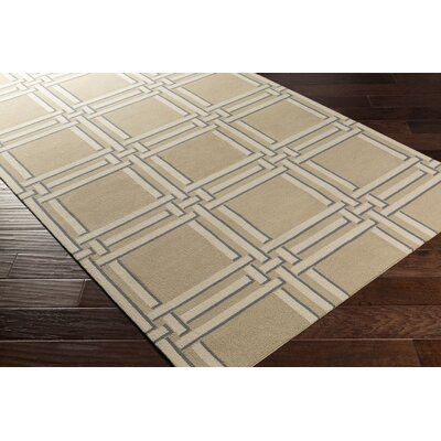 Abington Hand-Hooked Khaki Area Rug Rug size: Rectangle 8 x 10