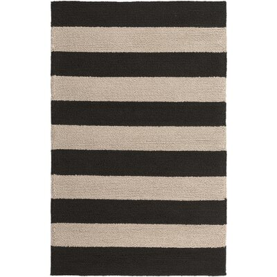 Breakwater Bay Orchid Hand-Hooked Black/Beige Indoor/Outdoor Area Rug