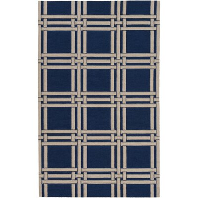 Abington  Hand-Hooked Navy Area Rug Rug size: Rectangle 4 x 6