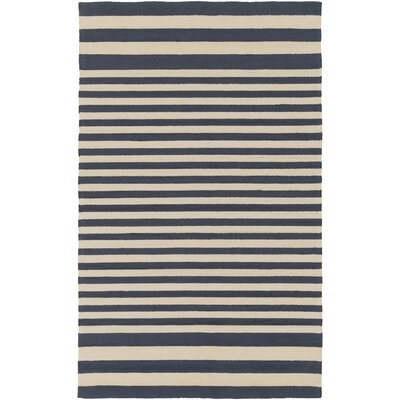 Breakwater Bay Orchid Hand-Hooked Navy/Cream Outdoor Area Rug