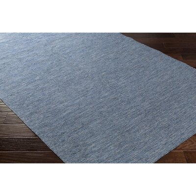 Breakwater Bay Winnwood Hand-Woven Blue/Black Area Rug
