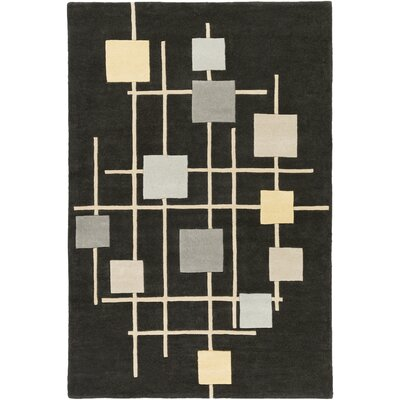 Breakwater Bay Winnwood Hand-Woven Grey/Black Area Rug