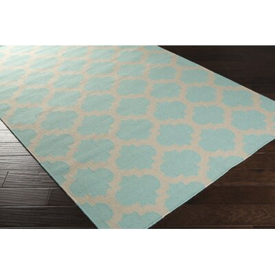 Highlands Hand-Woven Neutral/Blue Area Rug Rug Size: 36 x 56