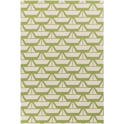Huntington Hand-Hooked Green/Neutral Area Rug Rug Size: 76 x 96