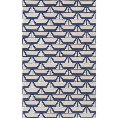 Huntington Hand-Hooked Blue/Neutral Area Rug Rug Size: 3 x 5