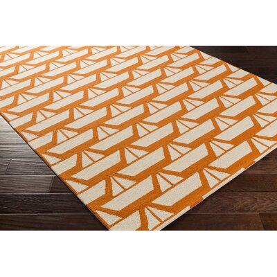 Huntington Hand-Hooked Orange/Neutral Area Rug Rug Size: 76 x 96