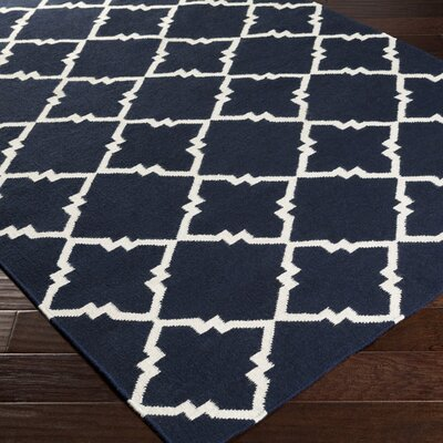 Highlands Dark Blue/Winter White Area Rug Rug Size: Runner 26 x 8