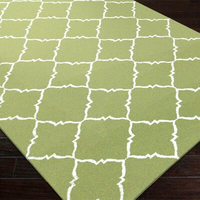 Breakwater Bay Highlands Peridot/Winter White Geometric Area Rug