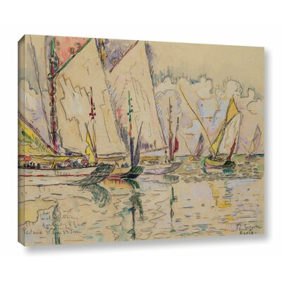 Departure of Tuna Boats at Groix by Paul Signac Painting Print on Wrapped Canvas