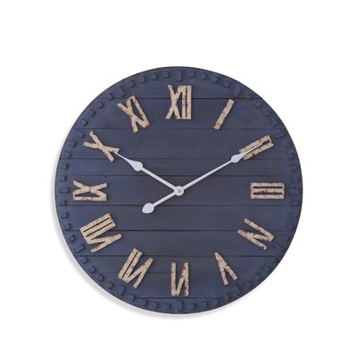 Round Blue 24 Wall Clock