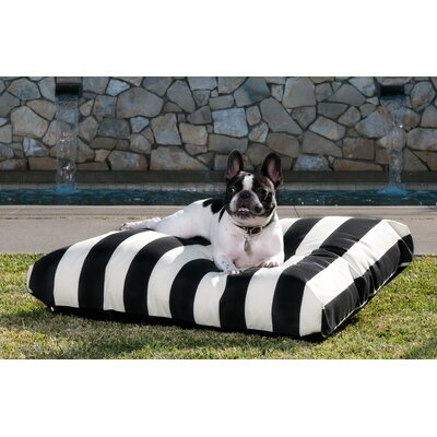 Limestone Dog Pillow Size: Medium (36 L x 29 W), Color: Navy/Off-White