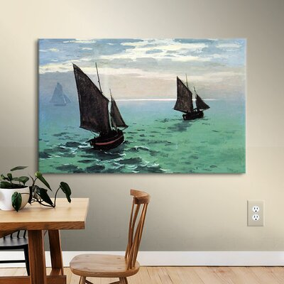 'Two Sailboats' by Claude Monet Painting Print on Wrapped Canvas Size: 14