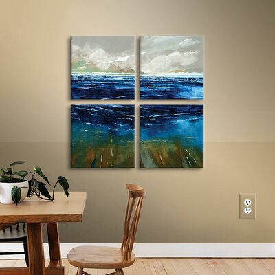 Beach And Sea 4 Piece Painting Print on Wrapped Canvas Set