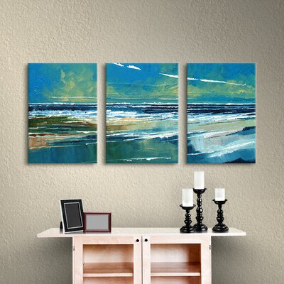 Rectangular Sea View I 3 Piece Painting Print on Wrapped Canvas Set