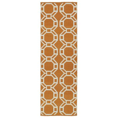 Fowler Orange/Cream Indoor/Outdoor Area Rug Rug Size: Runner 2 x 6