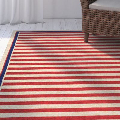 Montery Hand-Woven Red/Yellow Indoor/Outdoor Area Rug Rug Size: Rectangle 36 x 56