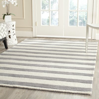 Leighton Hand-Tufted Gray/Ivory Area Rug Rug Size: Rectangle 5 x 8