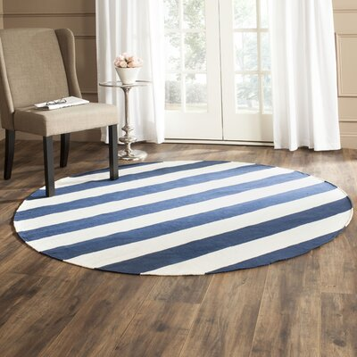 Wallingford Hand-Woven Navy/Ivory Area Rug Rug Size: Round 6'