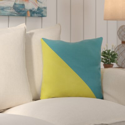 Cristina Split Color Outdoor Throw Pillow Size: 18 W x 18 D, Color: Lime / Kelly Green