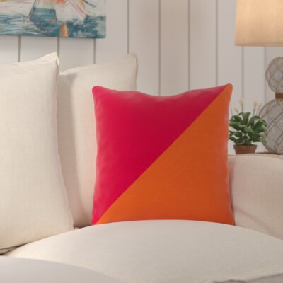 Sweetwood Split Color Outdoor Throw Pillow Size: 26 W x 26 D, Color: Tangerine / Hot Pink