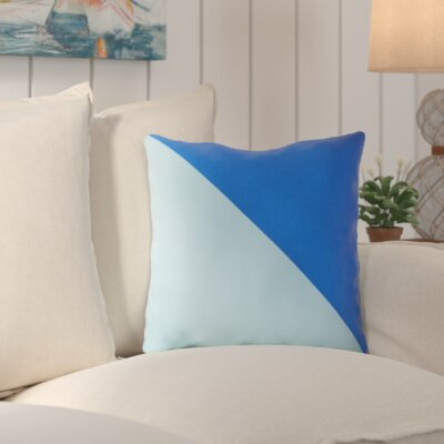 Sweetwood Split Color Outdoor Throw Pillow Size: 18 W x 18 D, Color: Cobalt / Sky Blue