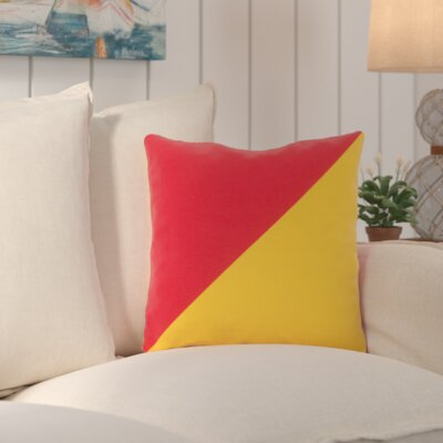 Cristina Split Color Outdoor Throw Pillow Color: Poppy / Sunflower, Size: 26 W x 26 D