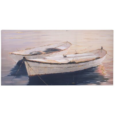 Breakwater Bay Rowboats Painting Print on Canvas