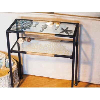Derrytown Glass and Metal Pen and Ink Sea Shell Console Table