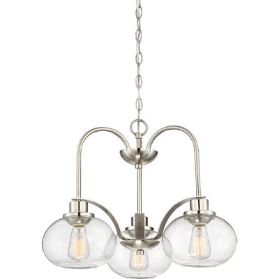 Braxton 3-Light Mini Chandelier Color: Brushed Nickel