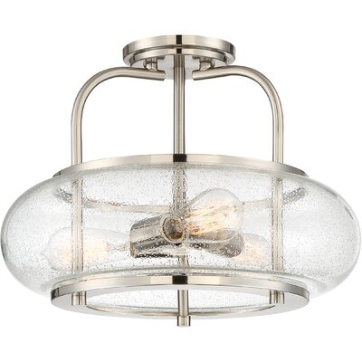 Braxton 3-Light Semi Flush Mount Finish: Brushed Nickel