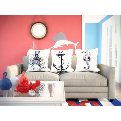 Marisa 3 Piece Marine Embroidered Throw Pillow Set