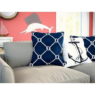 Bridgeport Ahoy Throw Pillow Color: Navy Blue, Size: 26 H x 26 W