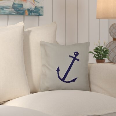 Callahan Outdoor Throw Pillow Color: Off White/Navy Blue