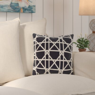 Wetherington Geometric Outdoor Throw Pillow Color: Blue