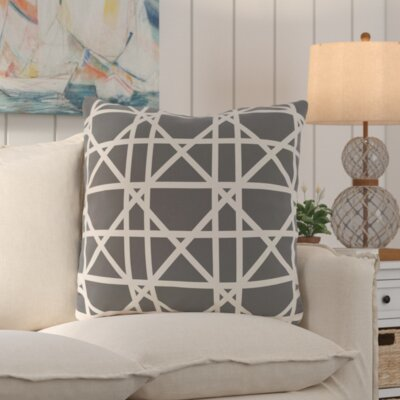 San Carlos Trellis Geometric Print Throw Pillow Color: Gray