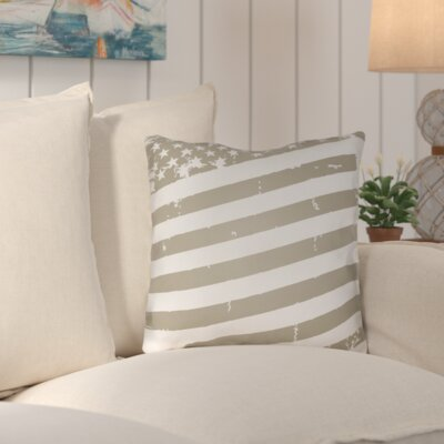 Saratoga Americana III Indoor/Outdoor Throw Pillow Size: 18 H x 18 W x 4 D, Color: Neutral